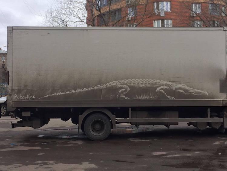 Moskova'daki Kirli Araçlar Sanat Eserine Dönüşüyor